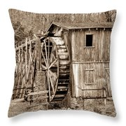 Old Mill In Sepia Throw Pillow