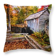 old mill Smoky Mountains Throw Pillow