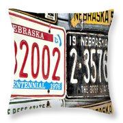 Old Nebraska Plates Throw Pillow
