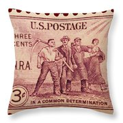 Old Nra Postage Stamp Throw Pillow