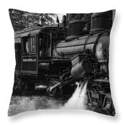 Old Number Three_climax Locomotive_durbin Wv _bw Throw Pillow