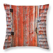 Old Orange Door  Throw Pillow
