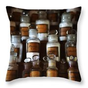 old pharmacy 2 - Old glass bottle with medicine powder of xviii century Throw Pillow