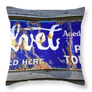Old Pipe Tobacco Sign On Barn Wood Throw Pillow