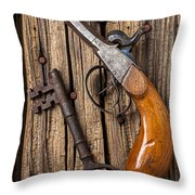 Old Pistol And Skeleton Key Throw Pillow by Garry Gay