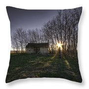 Old Prairie Homestead At Sunset Throw Pillow