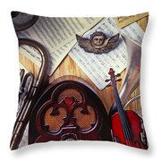 Old Radio And Music Instruments Throw Pillow