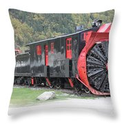 Old Rail Snow Pusher Throw Pillow