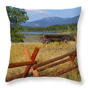 Old Ranch Wagon Throw Pillow