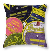 Old Record Labels Throw Pillow