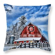 Old Red Barn Hdr Throw Pillow