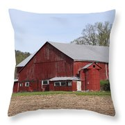 Old Red Barn With Short Silo Throw Pillow