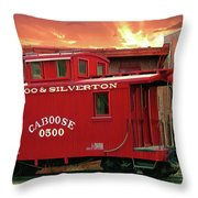 Old Red Caboose 500 Throw Pillow