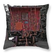 Old Red Train Throw Pillow