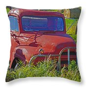 Old Red Truck Throw Pillow