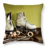 Old Roller-skates Throw Pillow