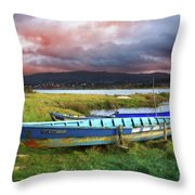 Old Row Boats Throw Pillow