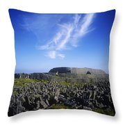 Old Ruins Of A Fort On The Landscape Throw Pillow