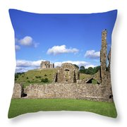 Old Ruins Of An Abbey With A Castle In Throw Pillow