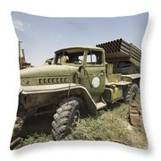 Old Russian Bm-21 Launch Vehicle Throw Pillow