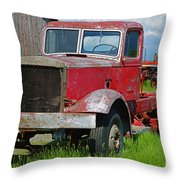 Old Rusted Semi-truck  Throw Pillow