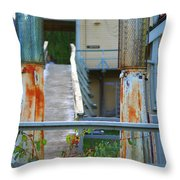 Old Rustic Gas Pumps Throw Pillow