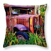 Old Rusting Truck Throw Pillow