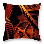 Old Rusty Gears Throw Pillow