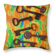 Old Rusty Keys Throw Pillow