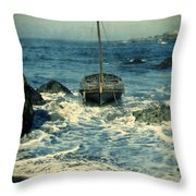 Old Sailing Vessel Near The Rocky Shore Throw Pillow