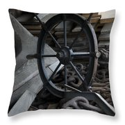 Old Ships Wheel, Chains And Wood Planks Throw Pillow