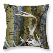 Old Skull And Antlers Throw Pillow