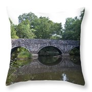 Old Sumneytown Pike Bridge Over The Perkiomen Creek Throw Pillow