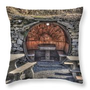 Old Tables And Benches Throw Pillow