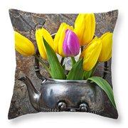 Old Tea Pot And Tulips Throw Pillow