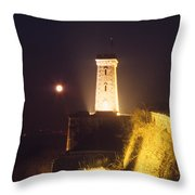 Old Tower And Moon Throw Pillow
