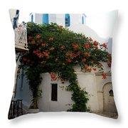 Old Town Church Paros Throw Pillow