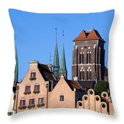 Old Town In Gdansk Throw Pillow