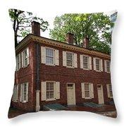 Old Town Philadelphia Brownstone House Throw Pillow