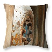 Old Tractor Wheel Throw Pillow