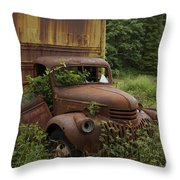 Old Truck In Rain Forest  Throw Pillow
