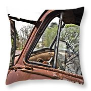 Old Truck Mirror Throw Pillow