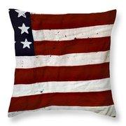 Old Usa Flag Throw Pillow by Carlos Caetano
