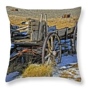 Old Wagon At Bodie Ghost Town Throw Pillow