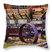 Old Wagon Bodie Ghost Town Throw Pillow by Garry Gay