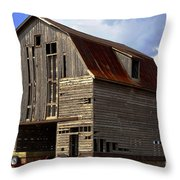 Old Wagon Older Barn Different View Throw Pillow