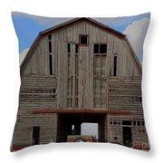 Old Wagon Older Barn Panoramic Stitch Throw Pillow