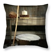 Old Wash Bucket With Mop And Brushes Throw Pillow by Sandra Cunningham