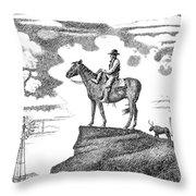 Old-west-art-cowboy Throw Pillow