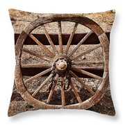 Old West Wheel Throw Pillow by Kelley King